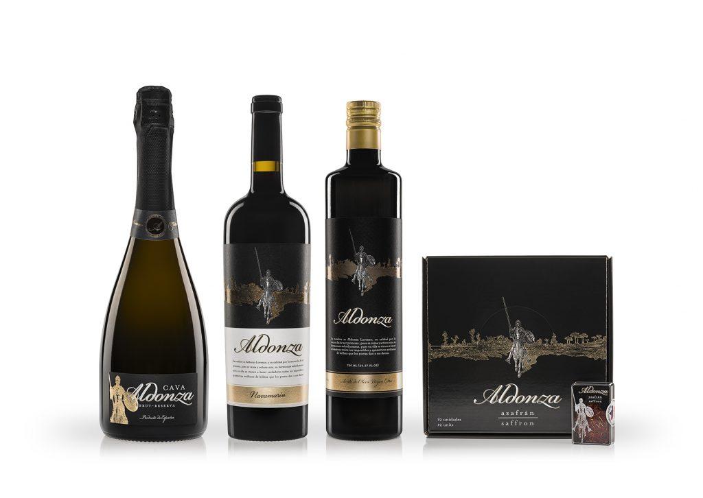 productos aldonza gourmet de cava, vino, aceite de oliva y azafrán